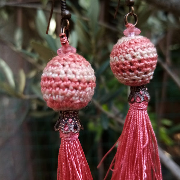Handmade Jewelry - Tassel Earrings With Crocheted Beads