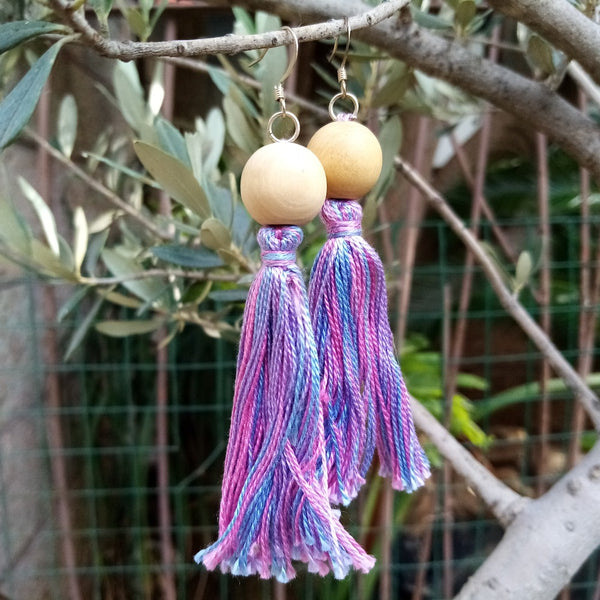 Handmade Jewelry - Tassel Earrings With Crocheted Olive Wood Beads