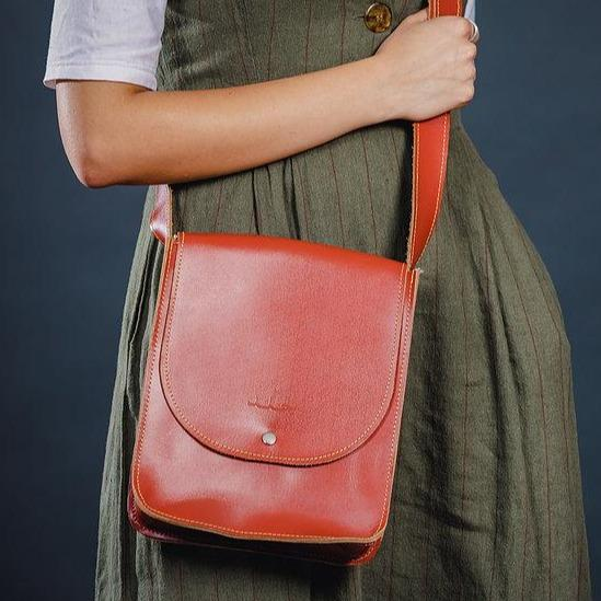 Leather & Clothing - Camel Brown Cross Body Leather Bag