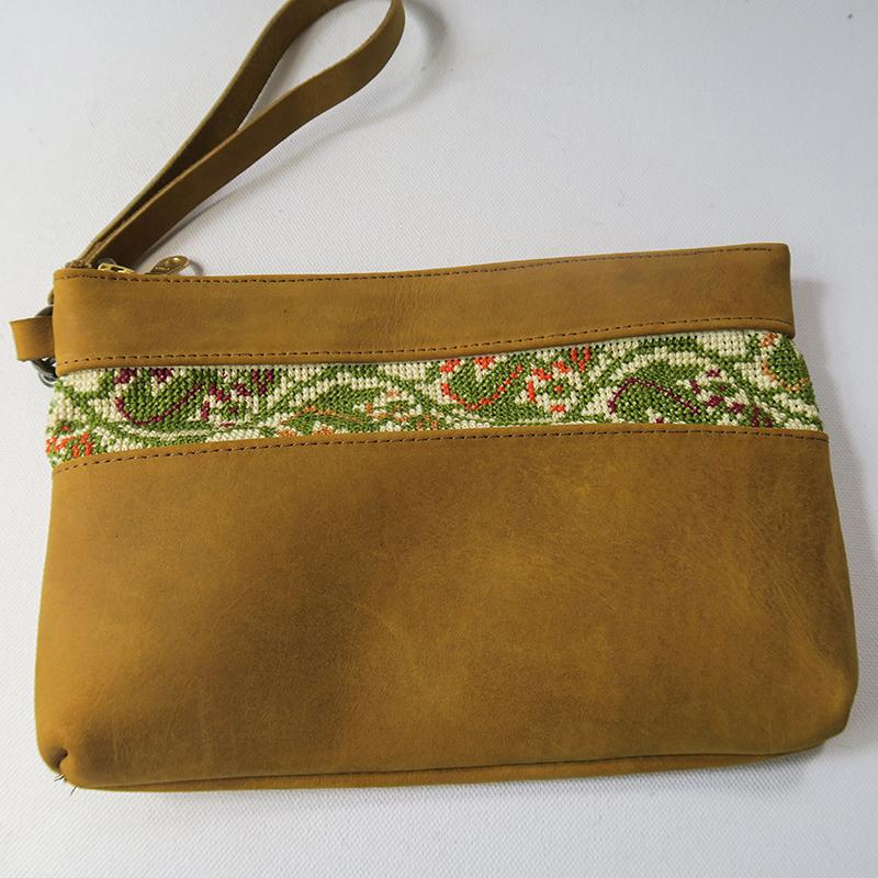 Leather & Clothing - Leather Clutch Purse With Cross-stitch