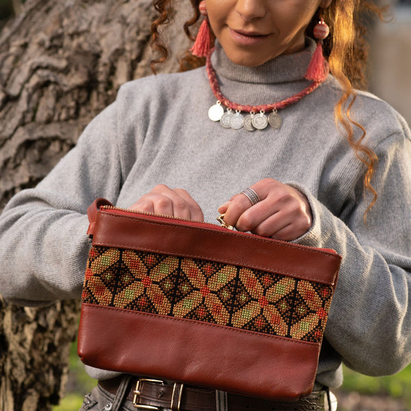 Leather & Clothing - Leather Clutch Purse With Embroidery