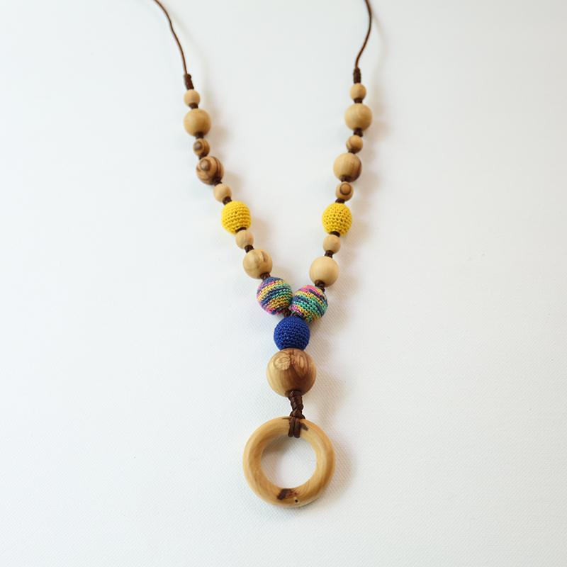 Little Olea - Beaded Nursing Necklace With Yellow & Maroon Crochet