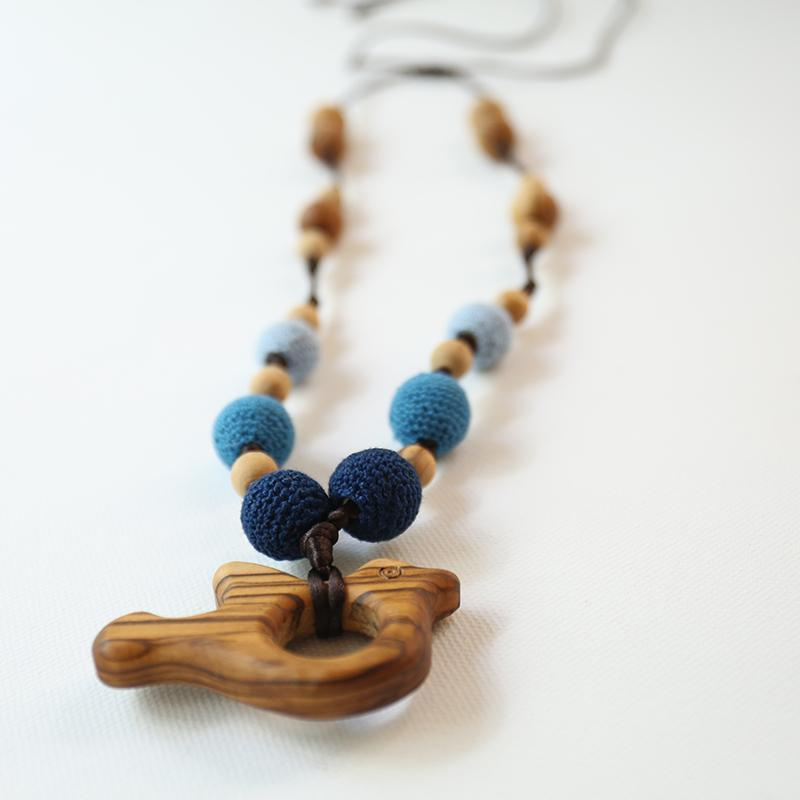 Little Olea - Teething Necklace From Natural Olive Wood With Dove