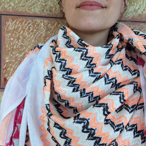Made in Palestine Keffiyeh in Orange and Cream Style - Handmade Palestine