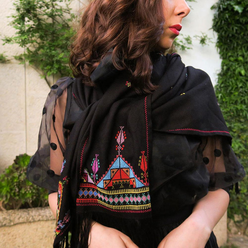 Scarves And Shawls - Shawl With Embroidery Tatreez - Cypress & Tree