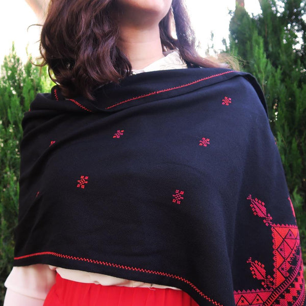 Scarves And Shawls - Traditional Palestinian Red On Black Embroidered Scarf - Cypress & Tree