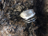 Silver Jewelry - Funky Ring Single Leaf On A Skinny Spiral
