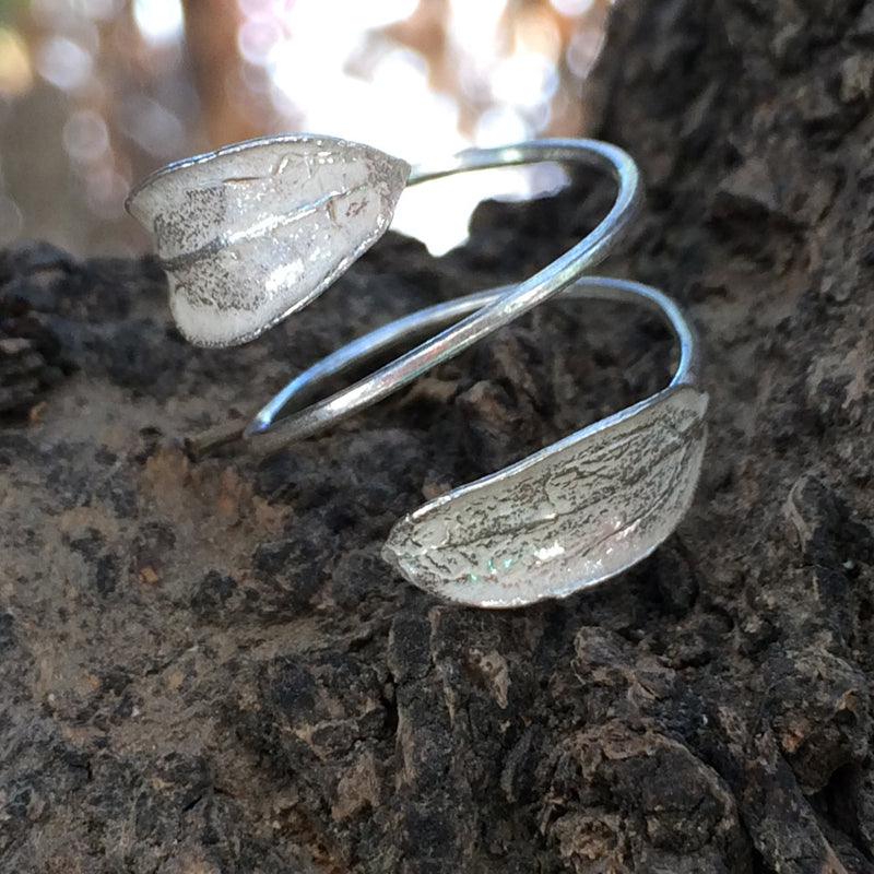 Silver Jewelry - Funky Sterling Silver Ring 2 Leaves On Skinny Wire