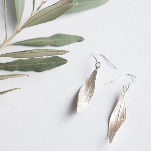 Silver Jewelry - Handmade Sterling Silver Earring Of Twisted Olive Leaf