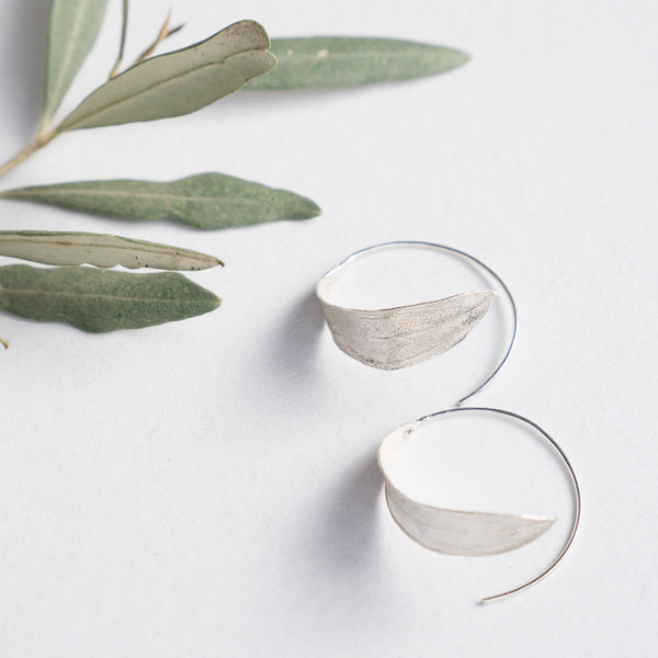 Silver Jewelry - Hoop Olive Leaf Earring In Sterling Silver