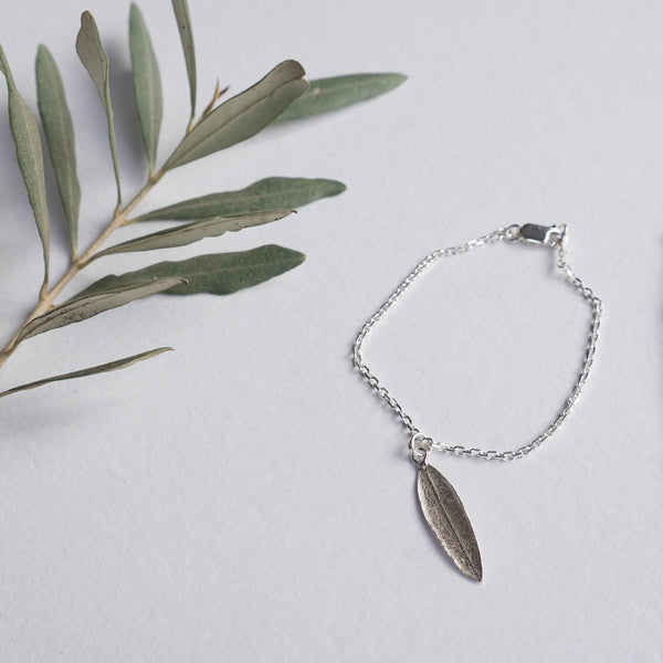 Silver Jewelry - Olive Leaf Charm Dangling On A Chain Bracelet In Sterling Silver