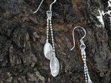 Silver Jewelry - Sterling Silver Double Small Leaves Dangling Earrings
