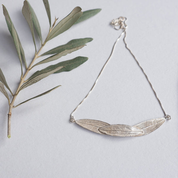 Silver Jewelry - Sterling Silver Necklace Of 3 Olive Leaf-Arch