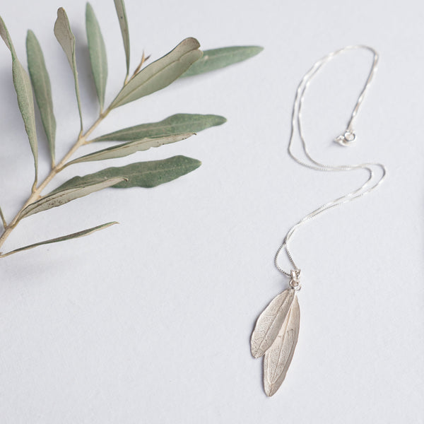 Silver Jewelry - Sterling Silver Olive Leaf Necklace - Double Leaves On Chain
