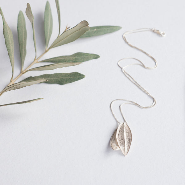 Silver Jewelry - Sterling Silver Olive Leaf Necklace On Chain With Fused Leaves