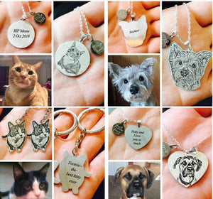 personalized pet memorial photo necklace keychain bracelet jewelry sterling silver