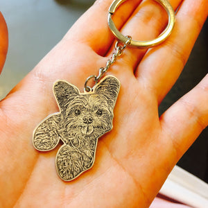 personalized pet photo portrait keychain