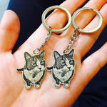 custom cat photo portrait keychain