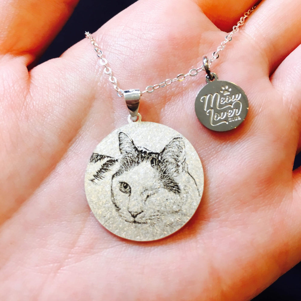 Disc Shape Personalized Pet Photo Necklace-Personalized Pet Photo Jewelry-MeowLoverClub