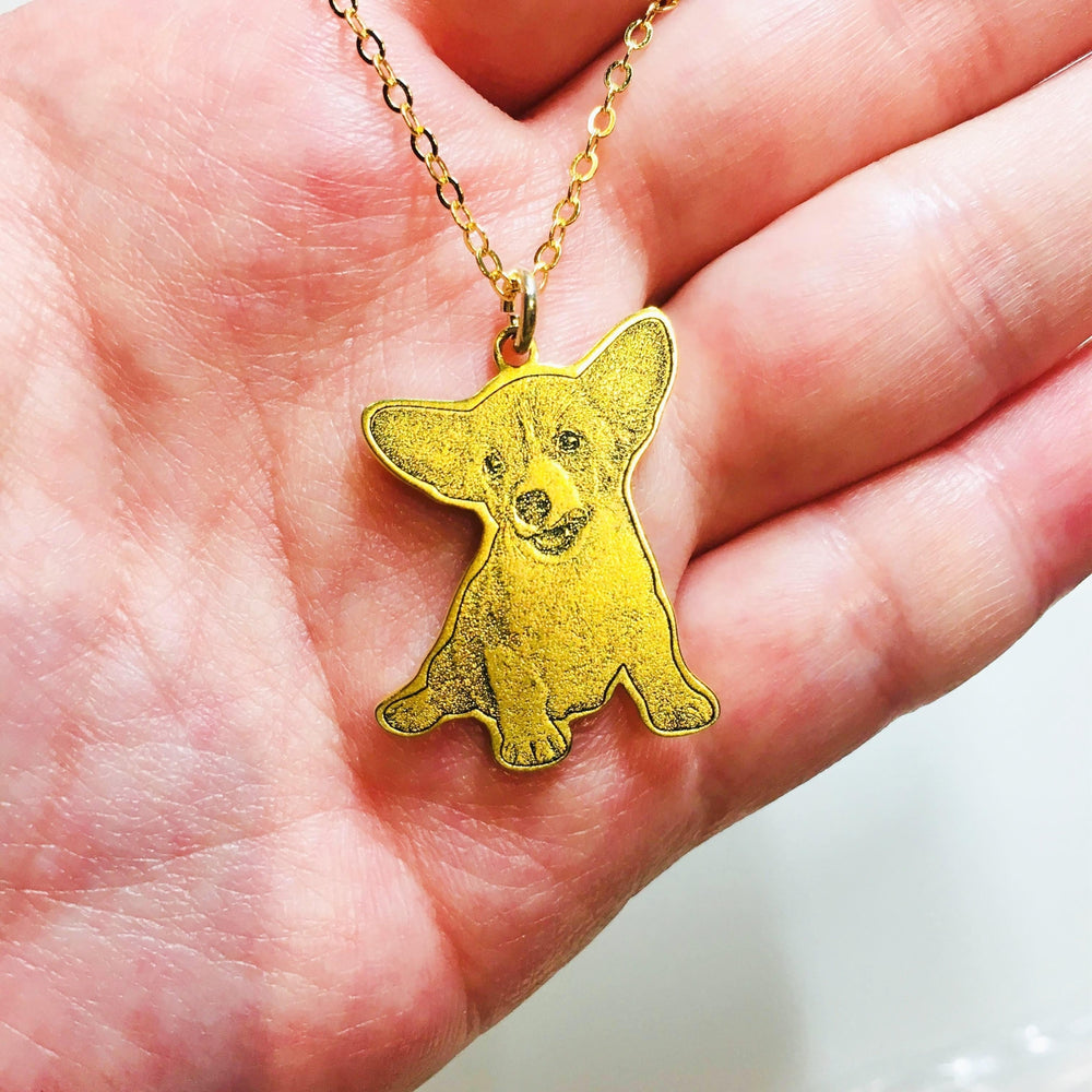 Gold Plated Personalized Pet memorial Necklace-Personalized Pet memorial Jewelry-MeowLoverClub