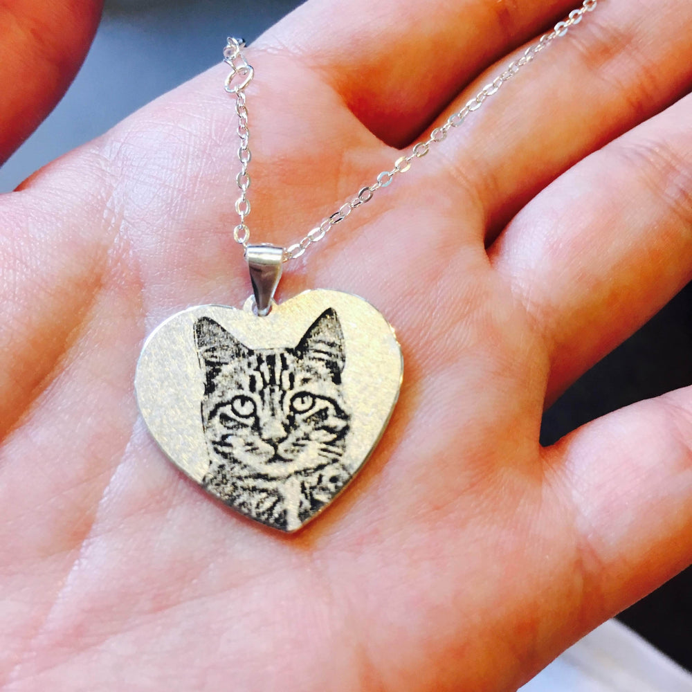 Heart Shape Personalized Pet Photo Necklace-Personalized Pet Photo Jewelry-MeowLoverClub