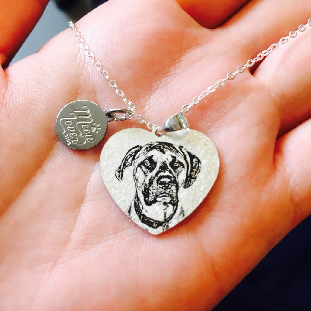 Heart Shape Personalized Pet memorial Necklace-Personalized Pet Photo Jewelry-MeowLoverClub