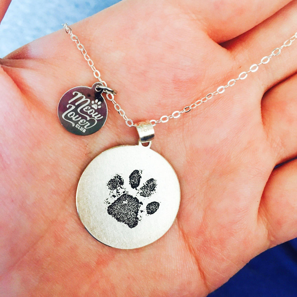 Personalized Pet memorial Paw Print Necklace-Personalized Pet memorial  Jewelry-MeowLoverClub