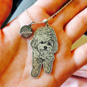 personalized pet photo portrait necklace