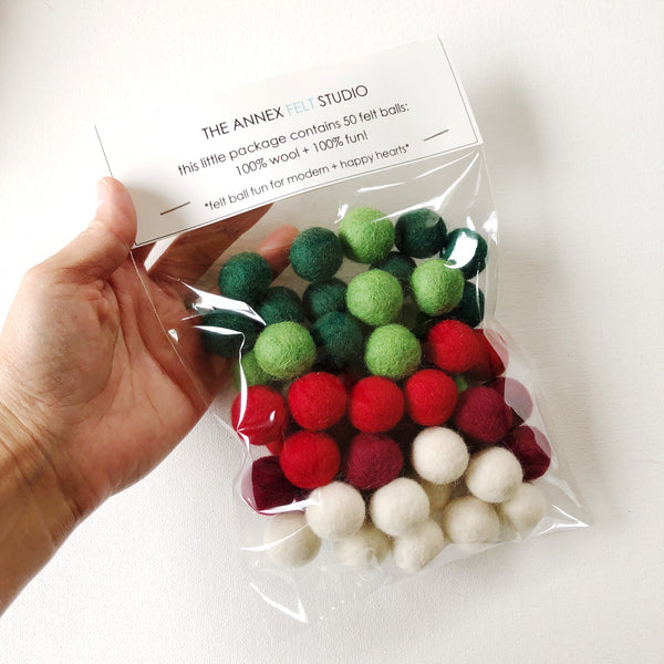 Classic Holiday Felt Ball Garland