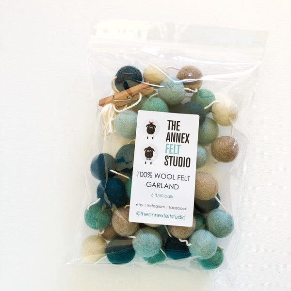 Sea Glass Felt Ball Garland