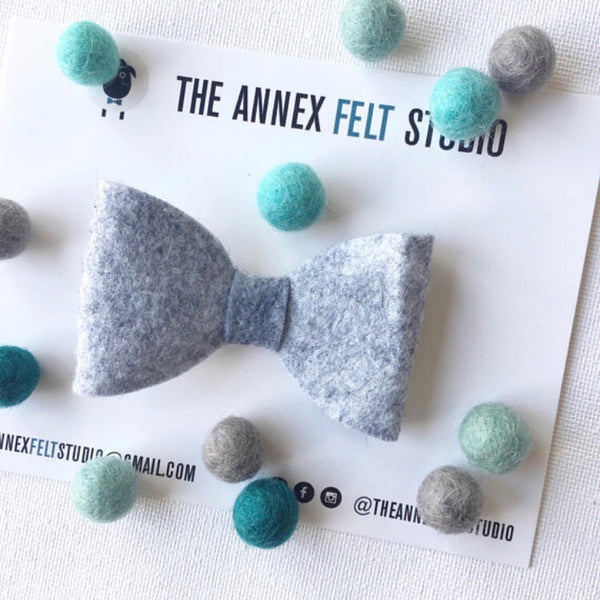 Heathered Gray Clip on Bow Tie