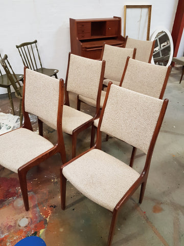 Set Of 8 Pcs. Rosewood High Back Dining Chairs. Danish 1960u0027s 70u0027s