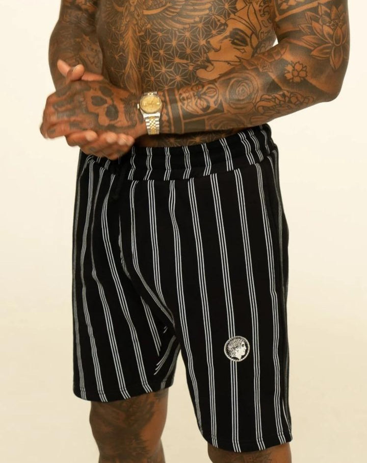 Black Pinstripe Shorts