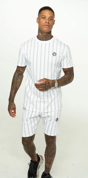 White Pinstripe Twin Set