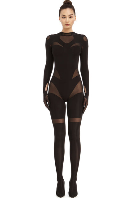 DSTM Solta catsuit in sheer & opaque black mesh and eco performance fabric, shown on model, front view