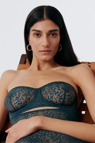 Else Acacia strapless underwire bodysuit in teal Cedar, front detail view on model