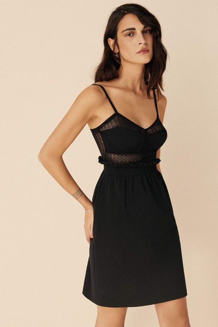 Else Jolie organic cotton and recycled lace knee length nightgown in black, front/side view on model