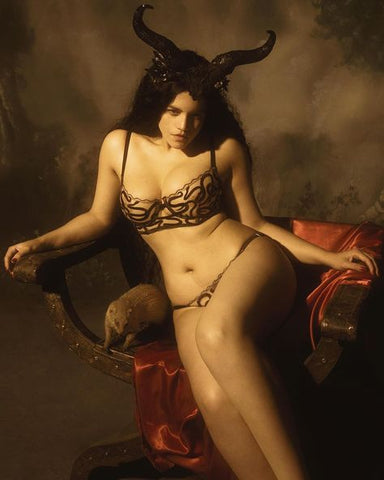 Model wearing Studio Pia Naga set with horns in classical painting style, photo by @thetogfather