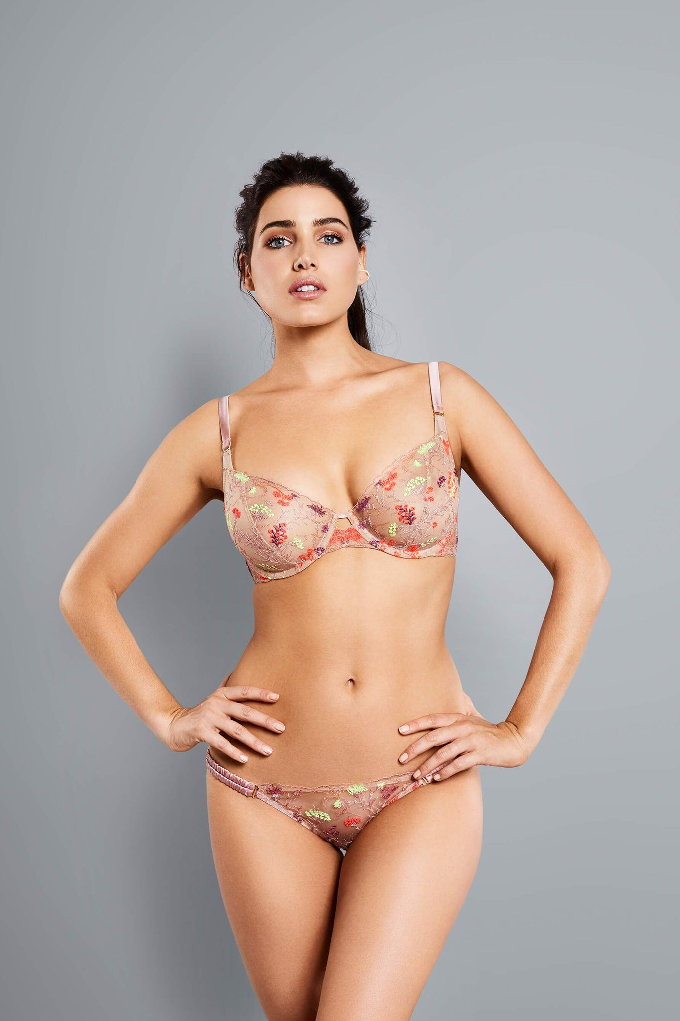 2ce7493bbdd7b Neon Hit. Neon Hit. Veronica Neon Embroidered Full Cup Underwire Bra from Adina  Reay