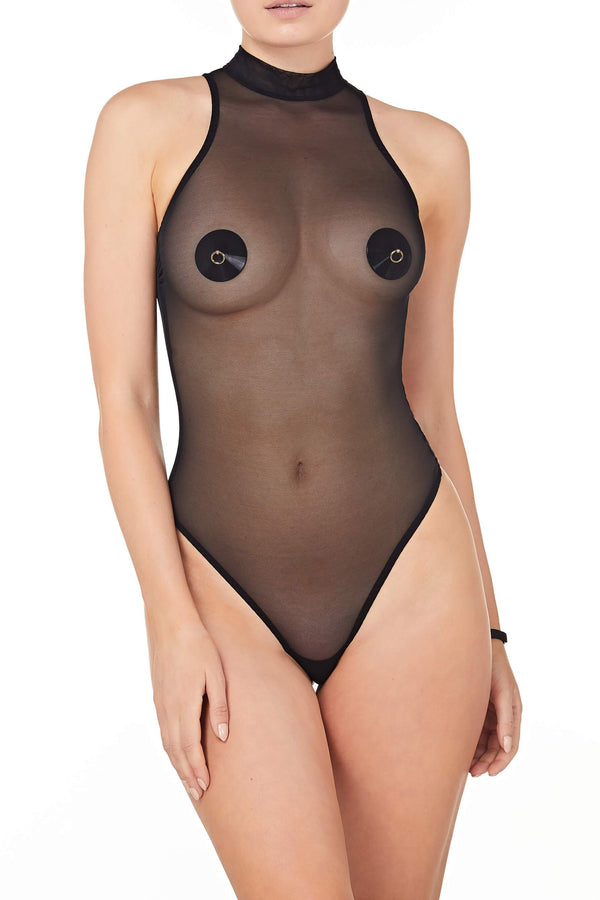 Bordelle Kew Sheer Mesh Black High Neck Bodysuit in black, on model, front view