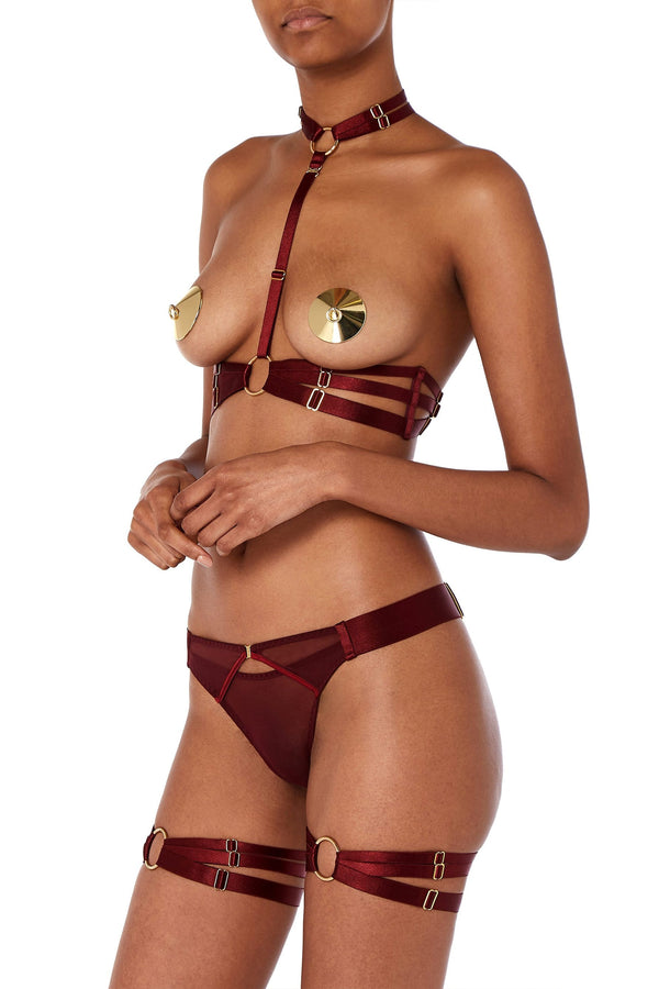 Bordelle Merida Thong in Morello red, side view, on model who is also wearing the matching harness & garters, and gold nipple pasties