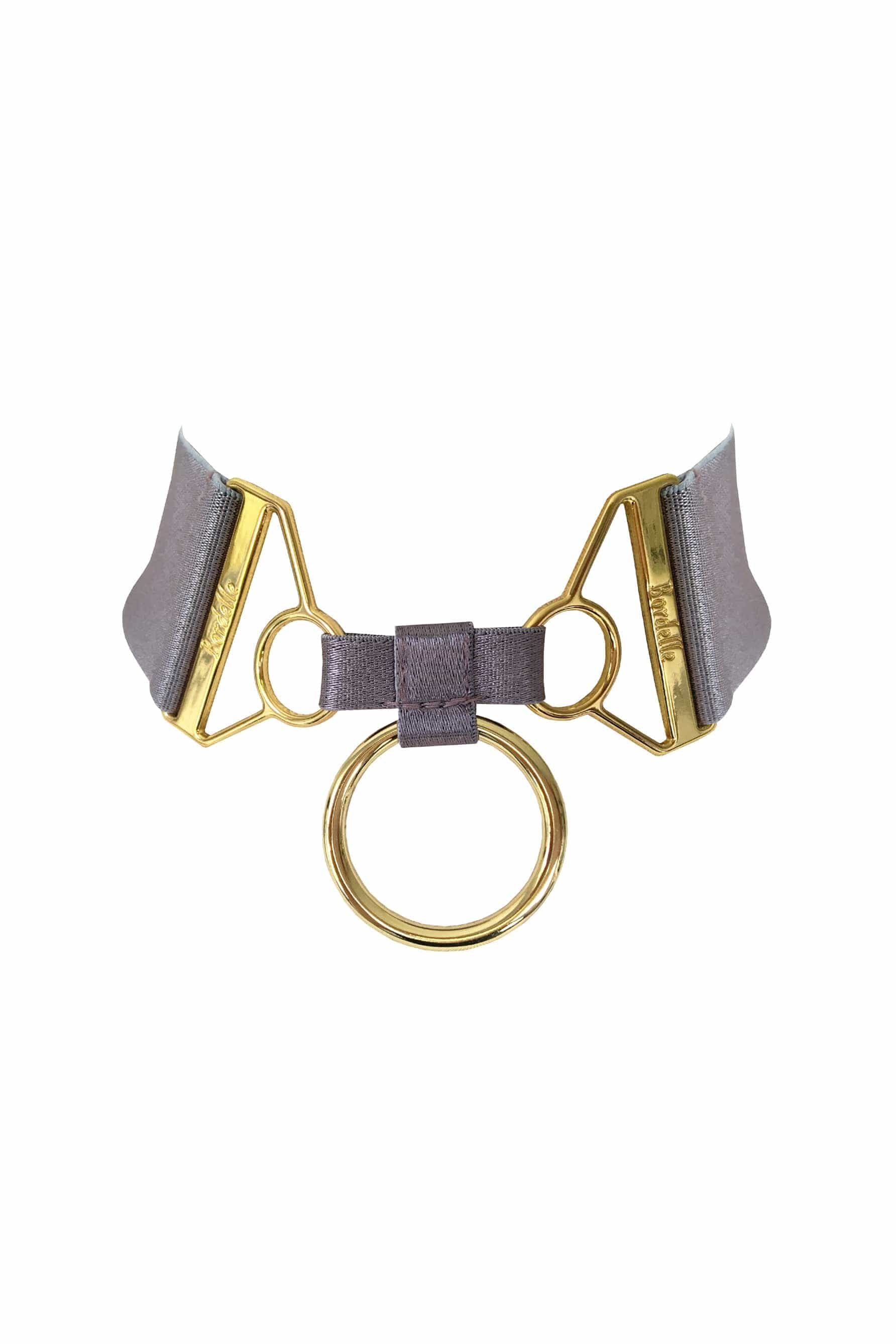 Bordelle Rey purple gray (tundra) collar in satin elastic and gold hardware, front view, on plain white background