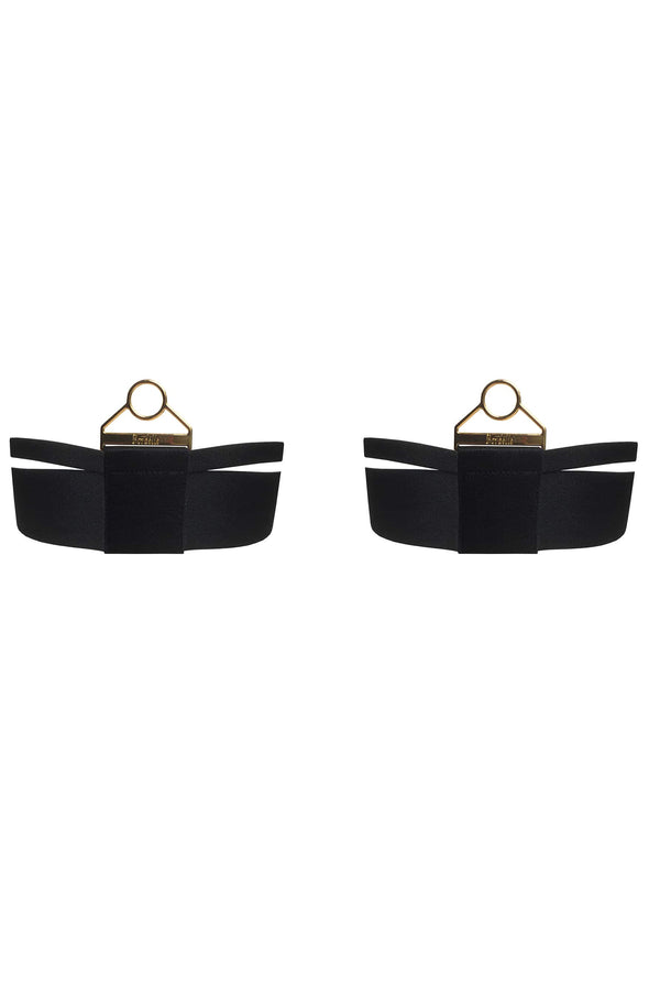 Bordelle Rey Garters in black satin elastic and gold plated hardware, front view on plain white background