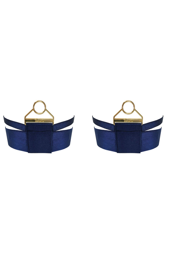 Bordelle Rey Garters in navy blue satin elastic and gold plated hardware, front view on plain white background