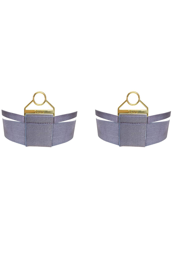 Bordelle Rey Garters in purple gray (tundra) satin elastic and gold plated hardware, front view on plain white background