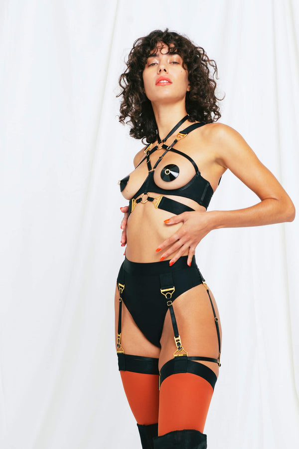 Rey Ouvert Wire Bra in Black