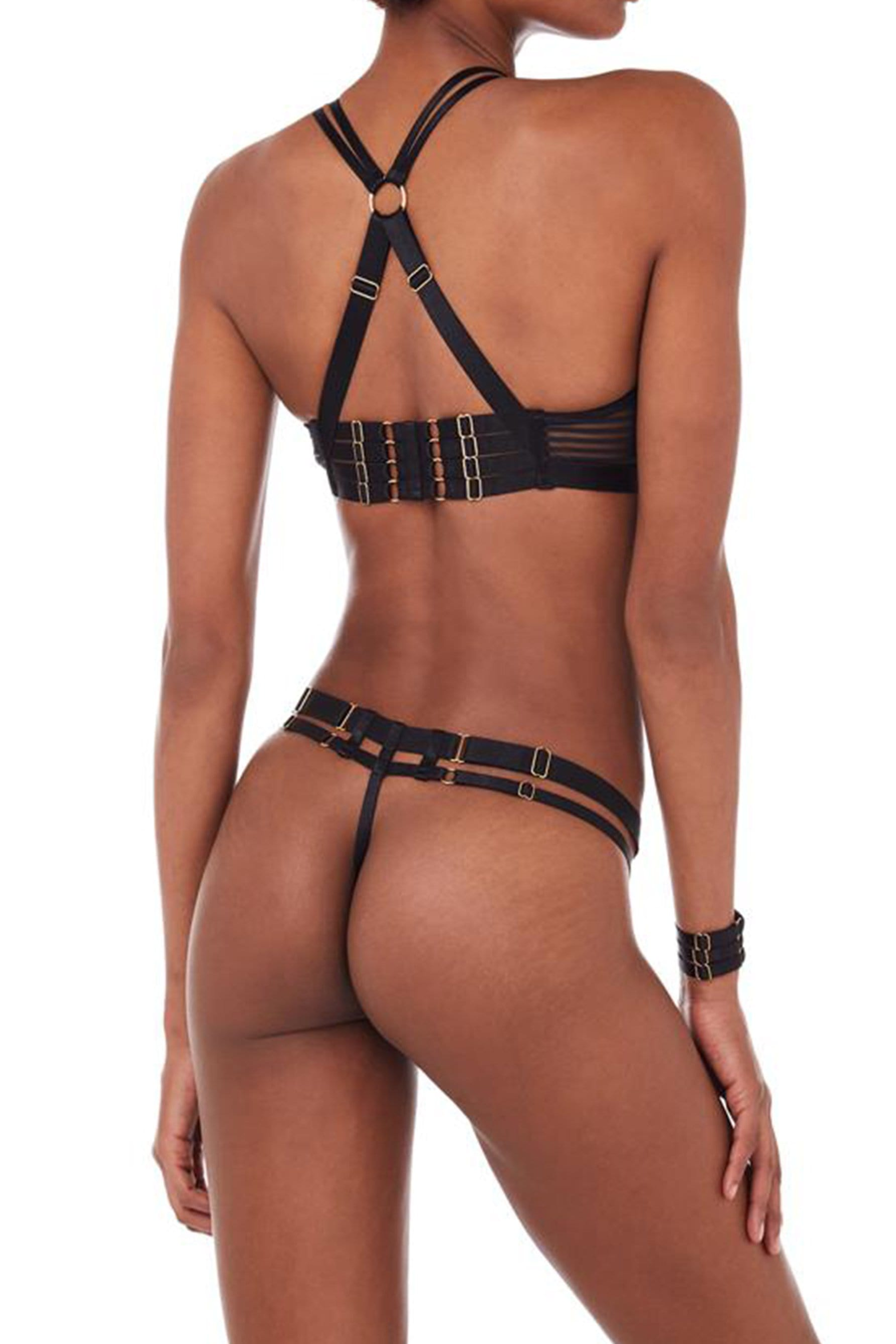Bordelle Scala Black Mesh Strappy Thong