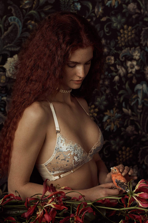 Bordelle Wilde Cream and Blue Wrap Wireless Bra on model, side view