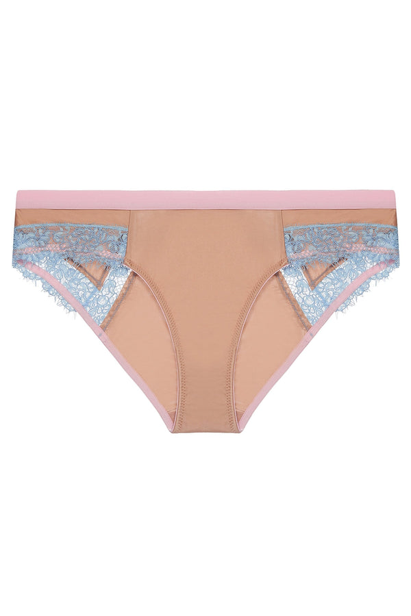 Dora Larsen Ottalie Low Rise Brief in dark beige, pastel blue and pink. Shown on plain white background.