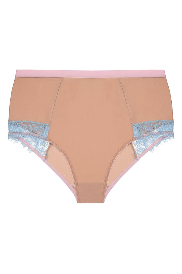 Dora Larsen Ottalie High Waist Brief in dark beige, pastel blue and pink. Shown on plain white background.